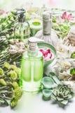 Ajuste del balneario con el producto cosmético verde de la botella con el dispensador de la bomba, flores e hierbas, herramientas Imágenes de archivo libres de regalías
