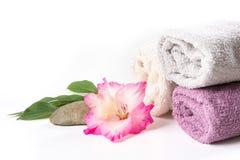 Ajuste del balneario de la toalla, flor rosada aislada en blanco Copie el espacio Imagen cuadrada Fotos de archivo