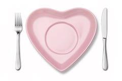 Ajuste del cuchillo de la bifurcación de la placa del corazón Imágenes de archivo libres de regalías