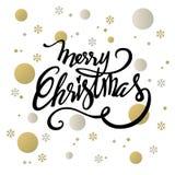 Ajuste del deco del claxon francés de la Feliz Navidad Logotipo del vector, tipografía Usable como la bandera, la tarjeta de feli fotos de archivo libres de regalías