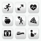 Ajuste del mantiene e iconos sanos en los botones brillantes Fotografía de archivo libre de regalías