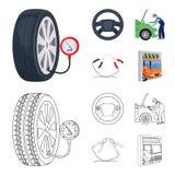 Ajuste del motor, volante, abrazadera e historieta de la rueda, iconos del esquema en la colección del sistema para el diseño Man stock de ilustración