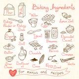 Ajuste desenhos de ingredientes do cozimento para o projeto Foto de Stock