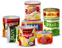 Ajuste do alimento de lata ilustração do vetor