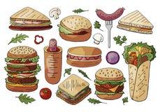 Ajuste do alimento, dos sanduíches diferentes e dos hamburgueres da rua isolados no fundo branco Coleção tirada mão dos hamburgue ilustração do vetor