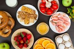 Ajuste do alimento que alergia da causa Vista superior imagens de stock royalty free