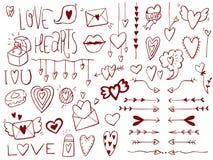 Ajuste do amor, corações As garatujas entregam objetos esboçados tirados ilustração royalty free
