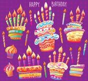 Ajuste do bolo e das velas de aniversário ilustração stock