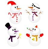 Ajuste do boneco de neve do inverno, coleção dos bonecos de neve em trajes diferentes ilustração do vetor