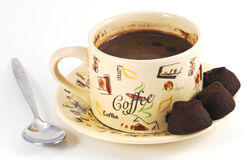 Ajuste do café com colher fotografia de stock royalty free
