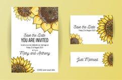 Ajuste do cartão do convite de 3 casamentos com o girassol amarelo grande e lettring das flores Molde do projeto do convite do ca ilustração do vetor