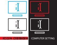 Ajuste do computador do projeto do ícone com forma de duas cores do fundo quatro ilustração stock