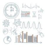 Ajuste do conceito financeiro analítico infografic com cartas fotos de stock
