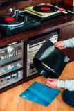 Ajuste do equipamento audio, dos jogadores de registro, dos amplificadores, do rádio e dos registros de vinil imagem de stock
