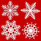 Ajuste do floco de neve 4 isolado simples no fundo vermelho DES do vetor ilustração royalty free