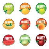 Ajuste do fruto dos logotipos do vetor, produto natural ilustração do vetor