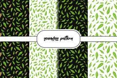 Ajuste do fundo sem emenda das folhas verdes Teste padr?o sem emenda das ?rvores de floresta nave ilustração stock