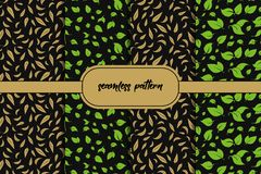 Ajuste do fundo sem emenda das folhas verdes Teste padr?o sem emenda das ?rvores de floresta nave ilustração royalty free