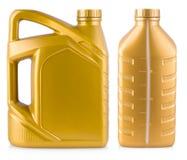 Ajuste do galão plástico amarelo, bidão isolado em um CCB branco fotografia de stock royalty free