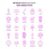 Ajuste do grupo do ícone de 25 Feminish SEO Analytics Flat Color Pink ilustração royalty free