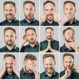 Ajuste do homem considerável com emoções e gestos diferentes fotos de stock royalty free