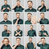 Ajuste do homem considerável com emoções e gestos diferentes fotos de stock