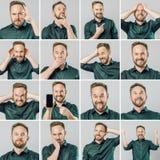 Ajuste do homem considerável com emoções e gestos diferentes imagem de stock royalty free