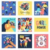 Ajuste do illusttation do vetor 8 de março, o dia das mulheres internacionais Projeto do molde do conceito do feminismo ilustração stock