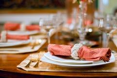 Ajuste do jantar Foto de Stock Royalty Free