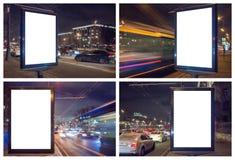 Ajuste do lightbox vazio na noite com luzes do carro no borrão de movimento fotos de stock royalty free