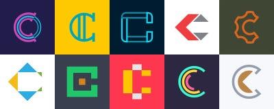 Ajuste do logotipo da letra C ilustração stock