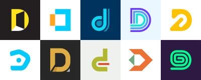 Ajuste do logotipo da letra D ilustração do vetor