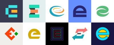 Ajuste do logotipo da letra E ilustração stock