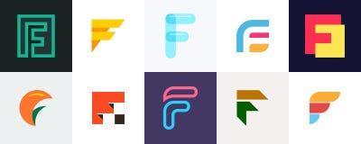 Ajuste do logotipo da letra F ilustração royalty free