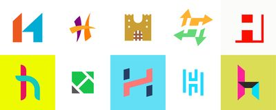 Ajuste do logotipo da letra H ilustração stock