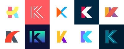 Ajuste do logotipo da letra K ilustração stock