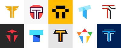 Ajuste do logotipo da letra T ilustração stock
