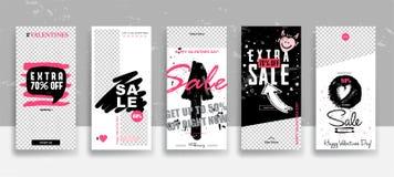 Ajuste do molde das histórias da venda do dia de Valentim fluir Cartões editáveis universais criativos no estilo na moda com a mã ilustração royalty free