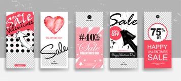 Ajuste do molde das histórias da venda do dia de Valentim fluir Cartões editáveis universais criativos no estilo na moda com a mã ilustração stock