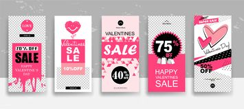 Ajuste do molde das histórias da venda do dia de Valentim fluir Cartões editáveis universais criativos no estilo na moda com a mã ilustração do vetor