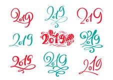 Ajuste do molde de rotulação caligráfico escandinavo do cartão do projeto do texto 2019 do Natal do vetor Tipografia criativa par ilustração royalty free