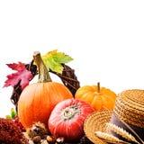 Ajuste do outono com abóboras colofrful Fotografia de Stock Royalty Free