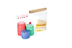 Ajuste do pôquer no branco Fotos de Stock