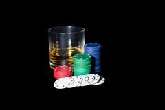 Ajuste do pôquer no preto Foto de Stock Royalty Free