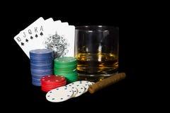 Ajuste do pôquer no preto Fotografia de Stock Royalty Free