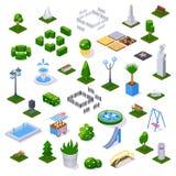 Ajuste do parque da cidade dos objetos com arquitetura, decoração e paisagem ilustração royalty free