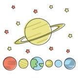 Ajuste do planeta diferente ilustração royalty free