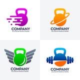 Ajuste do projeto original do logotipo do kettlebell ilustração stock