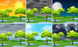 Ajuste do tempo diferente da paisagem da natureza ilustração stock