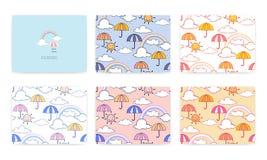 Ajuste do teste padrão sem emenda com arco-íris bonito e guarda-chuva Ilustra??o do vetor ilustração royalty free